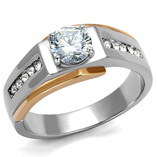 Marimor Jewelry Mens 1.33 CT Round Cut Cubic Zirconia Two Toned Stainless Steel Ring SZ 8-13