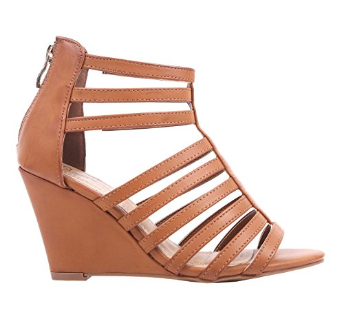Women Wedge High Heels Strappy Gladiators Sandals Open Toe Zipper Closure Ankle Height Strap Extendable Faux Leather (8, (Faux Leather Strappy Heel Wedge)