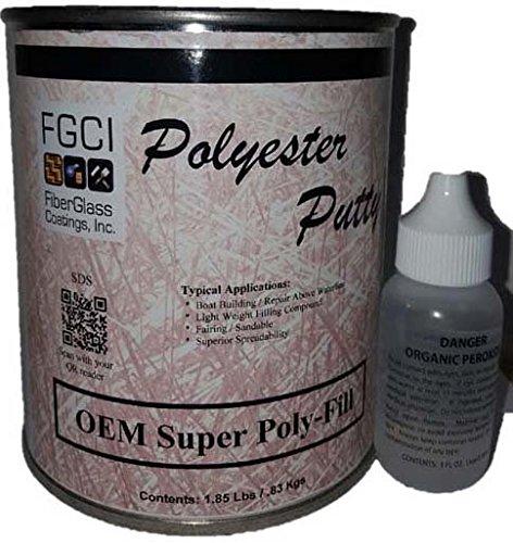 FGCI OEM Super Poly Fill - Polyester Putty Quart Kit w/ 1oz MEK-P