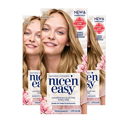 Clairol Nice 'n Easy Permanent Hair Color, 8A Medium Ash Blonde, 3 Count (Packaging May Vary)