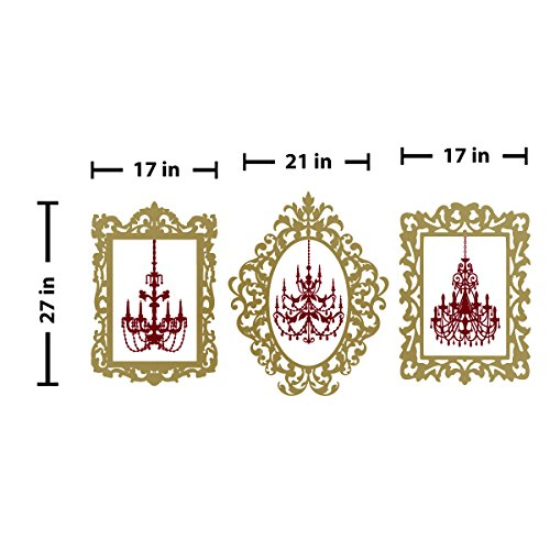 Cheap  Chandelier Picture Frames Wall Decal (Gold & Burgundy, 21