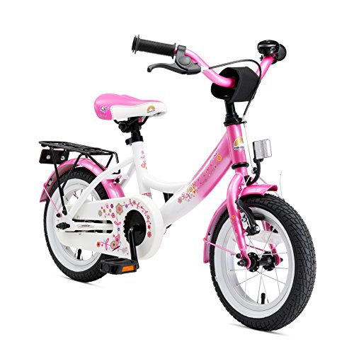 BIKESTAR Original Premium Safety Sport Kids Bike Bicycle with sidestand and Accessories for Age 3 Year Old Children | 12 Inch Classic Edition for Girls | Flamingo Pink & Diamond White ()