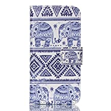 iPod Touch 5 Case, Jenny Shop New Design Dual Use Premium PU Leather Wallet Flip Case with Built-in Card Slots, Cash Pocket, Magnetic Closure for Apple iPod Touch 5th Generation (Silver Elephants)