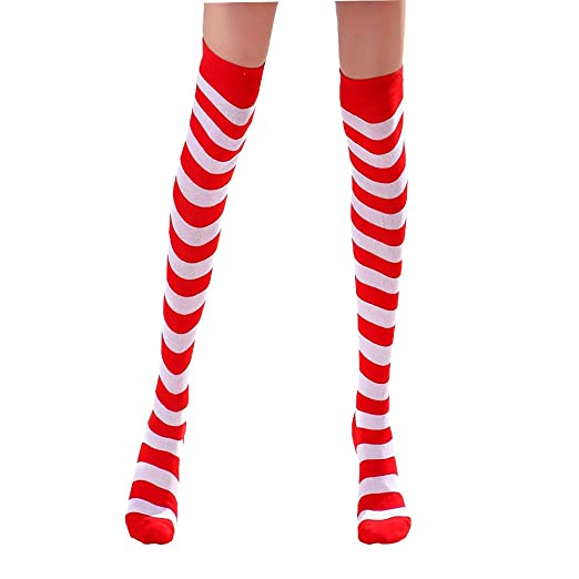 4c9a8f95d Amazon.com  Halloween Costume Red and White Striped Socks Medium Over Knee  High Opaque Stockings Christmas Socks  Clothing