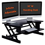 Hovome Height Adjustable Premium Standing Desk Ergonomic Sit Stand 2-Tier Standing Desk Converter 32'' Tabletop Workstation fits Dual Monitor,Spacious Keyboard Tray, Smartphone/Tablet Holder,Black