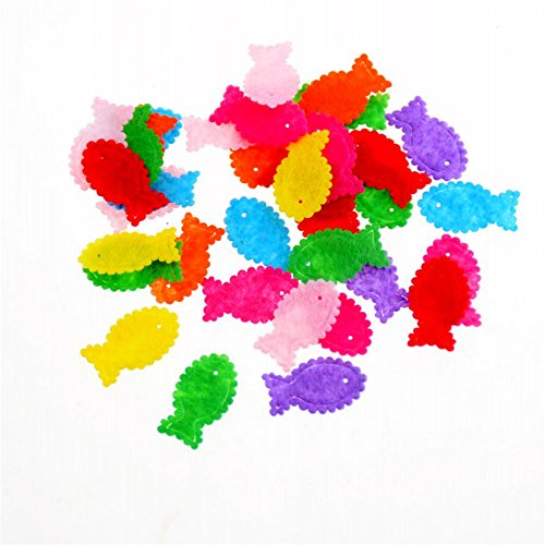 Assorted Color 100pcs Felt Patch Applique Felt Scrap-booking Non-woven Stickers Sew on Applique Felt Pads for DIY Craft Making Sewing Handcraft Decoration (Fish)