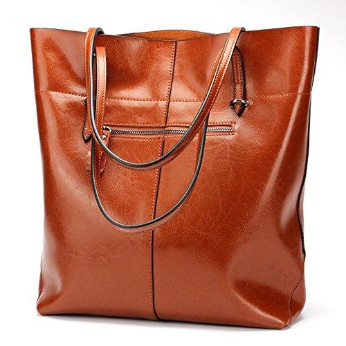 Sac à bandoulière en peau de vache à la mode pour dame pour femme dans un sac à main - orange, version brune horizontale,