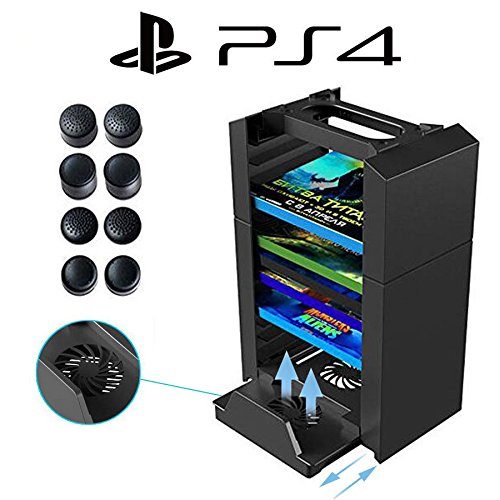 Anrain-PS4-PS4-Slim-PS4-Pro-Vertical-Stand-Cooling-Fan-with-Game-Storage-Tower