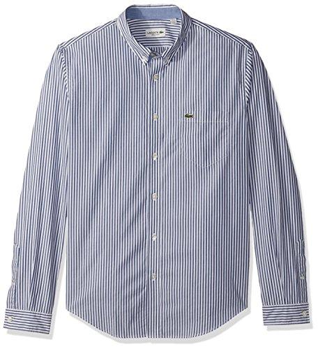 Lacoste Men's Long Sleeve Bengal Stripe Regular Fit Woven Shirt, CH3939, Methylene/White, M - Multi Stripe Woven Shirt