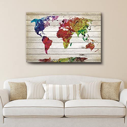 Watercolor World Map Rustic Painting Wall Decor