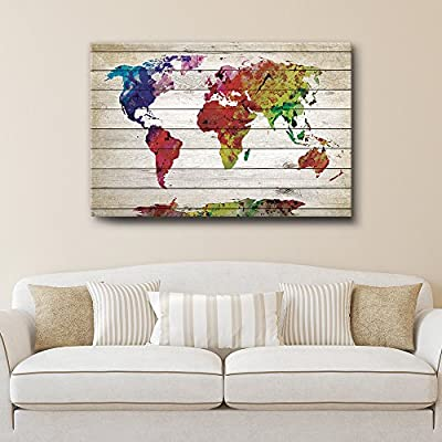 Watercolor World Map Rustic Painting - Canvas Art Wall Decor - 12