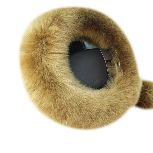 KOBWA NEW VERSION Warm Soft Breathable Plush Wool Steering Wheel Cover Handbrake Cover Gear Shift Cover 1 Set 3 Pcs