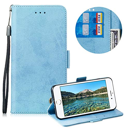 (Moiky Leather Wallet Case for iPhone 6 Plus,Flip Case with Wrist Strap for iPhone 6S Plus,Classic Retro Sky Blue Solid Color Flex Soft PU Leather Wallet Magnetic Closure Folding Flip Case)