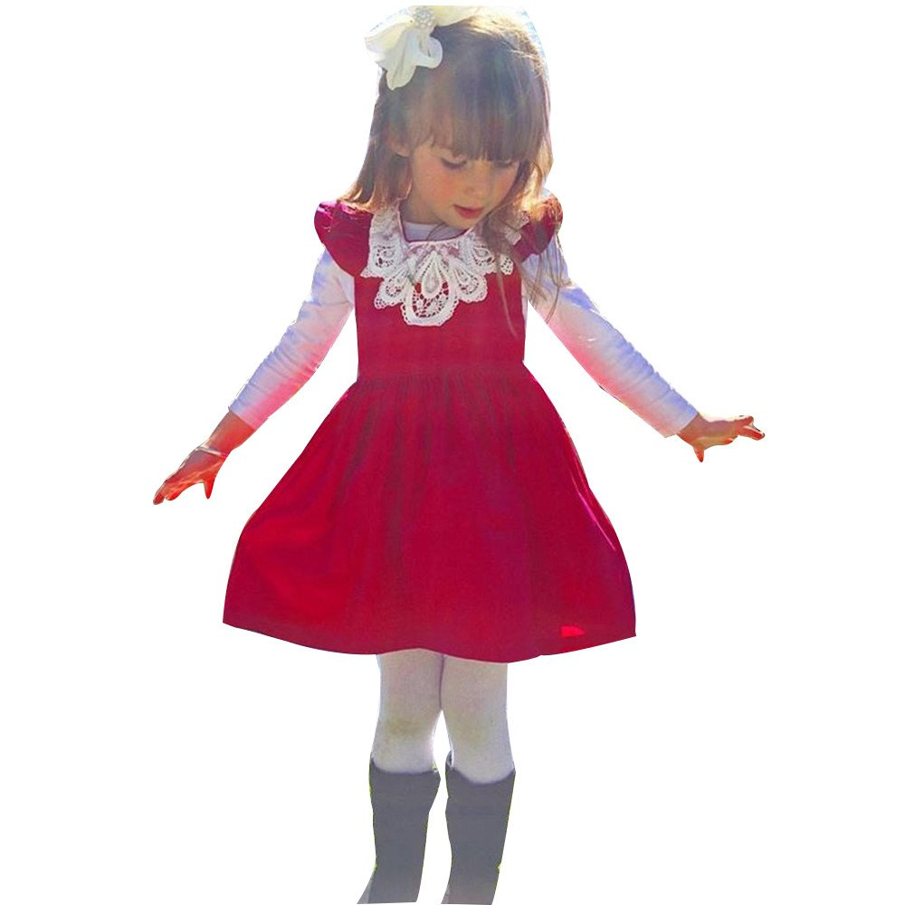 Karoleda_Baby Girls Clothes Girl Polka Dotted Pleated Multilayer Ruffled Party Dress Red