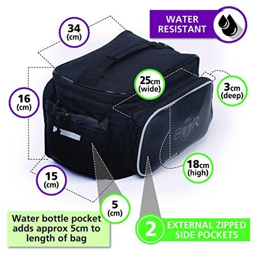 BTR Fahrradtasche für den Gepäckträger. Wasserabweisend. Schwarz. 10 Liter Fassungsvermögen. Gepäckträgertasche mit Vorrichtung zur sicheren Befestigung des Fahrrad-Rücklichts Jetzt mit BTR Reparatur-