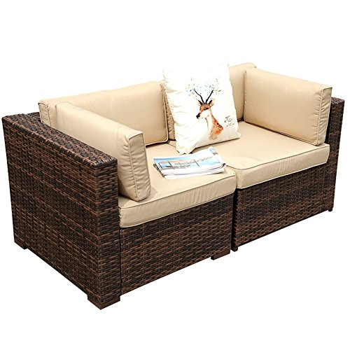 PATIOROMA Patio Loveaseat (2 Corner Sofa Chairs), All Weather Brown PE Wicker Outdoor Furniture, Beige Removable cushions,Steel Frame -