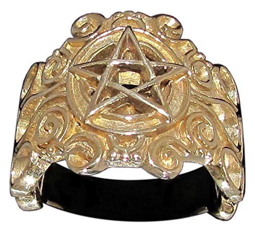 Detailed Celtic Pentagram Ring Carved Pentacle in Bronze