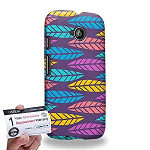 Case88 [Motorola Moto E (2nd Gen)] 3D impresa Carcasa/Funda dura para & Tarjeta de garantía - Art Fashion Leaf Trend Purple Background