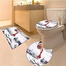 MikiDa 3 Piece Toilet mat Set King of Chess 3 Piece Shower Mat Set