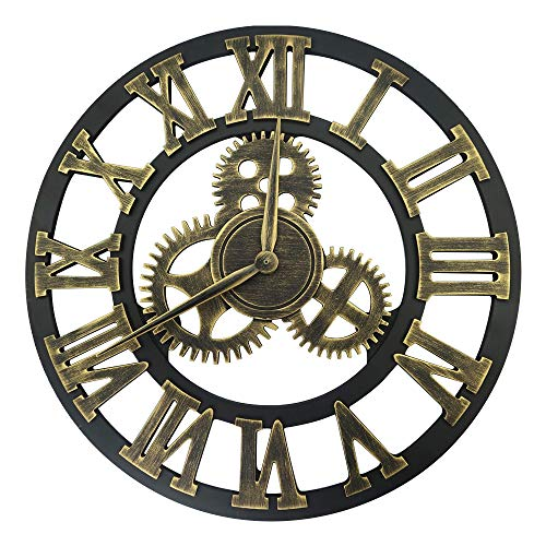 Amazon.com: Lucky Monet Large 3D Gear Roman Numeral Wall Clock Antique Wall Clock Retro Round Clock Art Wheel for Living Room, Kitchen, Restaurant, ...