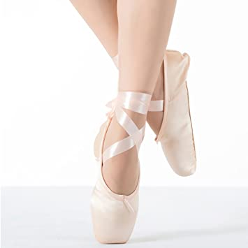 384949c172c9be KUKOME Satin Ballet Pointe Shoes for Women Girls with Ribbon Silicone Gel  Toe Pads (US3