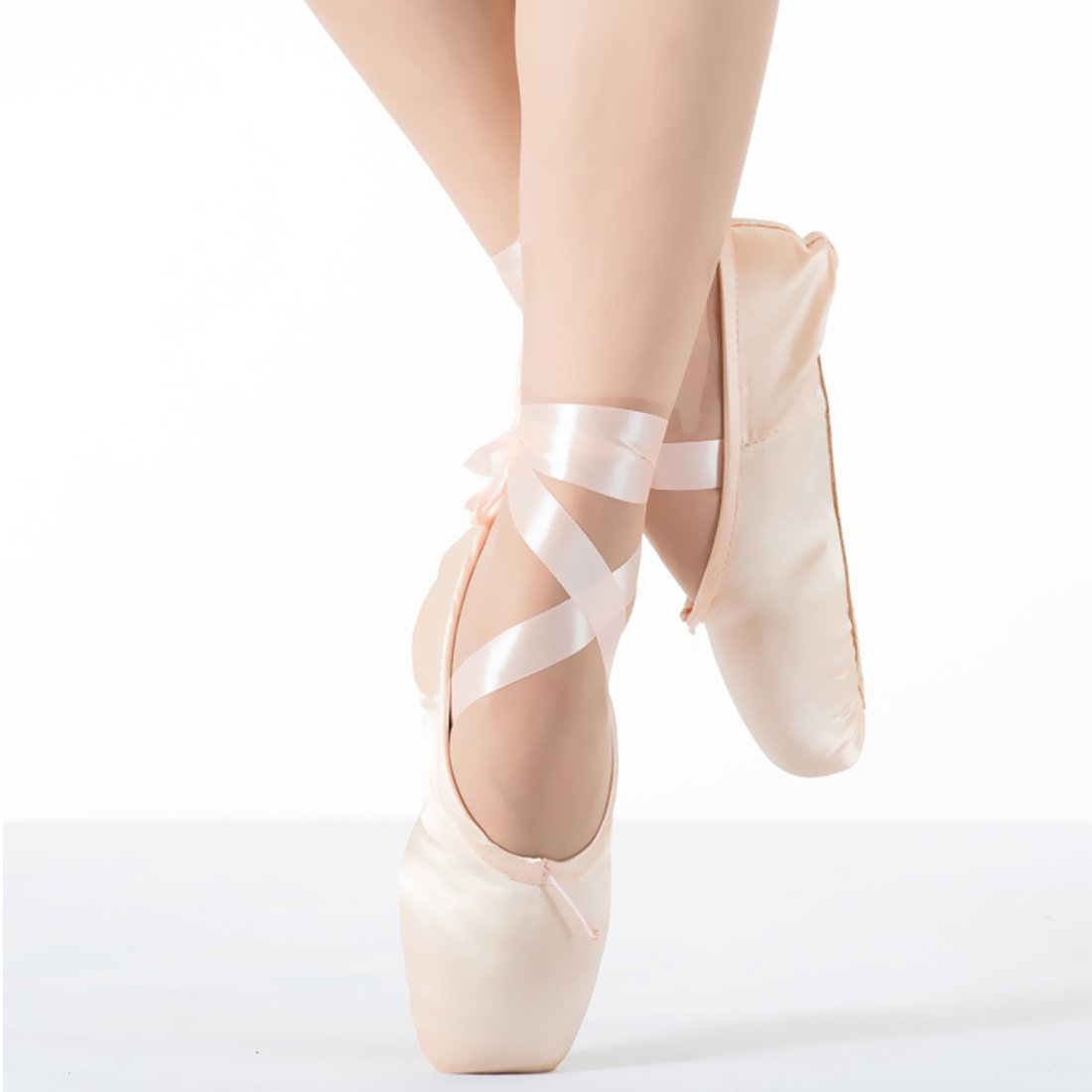 KUKOME New Pink Ballet Dance Toe Shoes Professional Ladies Satin Pointe Shoes (US7,Inside Length 240mm=9.45inch)