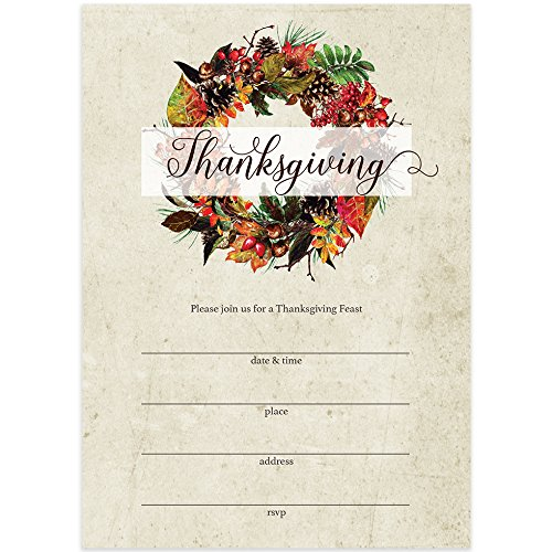 "Thanksgiving Meal Invites & Envelopes (Pack of 25) Rustic Country Leaf & Pine Cone Wreath Design Large 5 x 7"" Blank Fill-in-Style Invitations Welcome Guests Thanksgiving Dinner Great Value Invites"