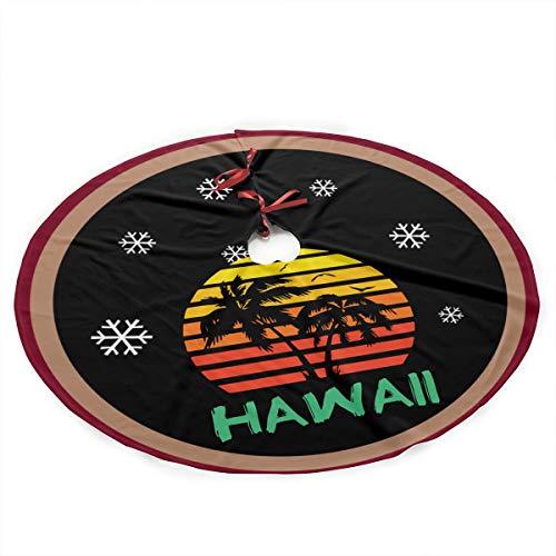 Hawaii 80s Sunset - Hawaii Christmas Tree Skirt Holiday New Year Festive Xmas Tree Decorations Ornaments -