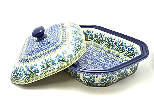 Polish Pottery Baker - Rectangular Covered - Large - Blue Bells ()