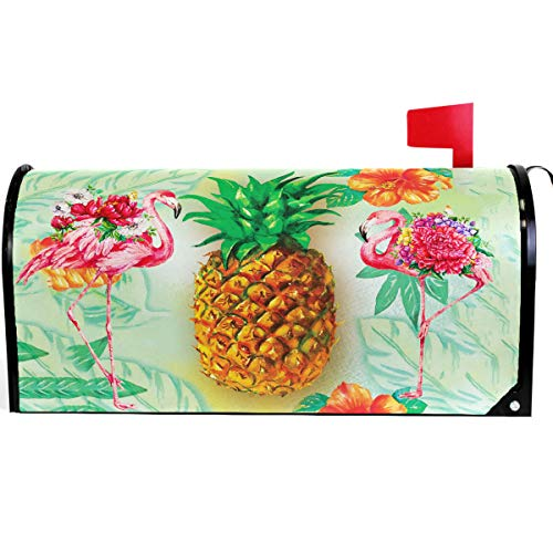 Wamika Summer Gold Flamingo Pineapple Mailbox Cover Magnetic Standard Size, Tropical Floral Palm Letter Post Box Cover Wrap Decoration Welcome Home Garden Outdoor 21