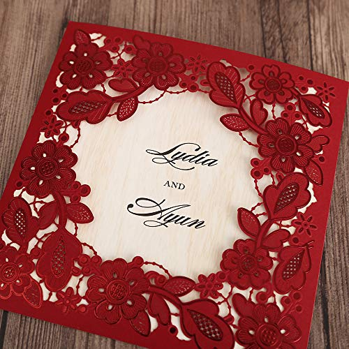 Wedding Website Domain Name Ideas: DreamBulit 50pcs Square Red Laser Cut Lace Flower Wedding