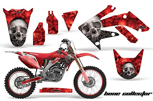 AMR Racing Graphics Kit for MX Honda CRF250R 2004-2009 with Number Plates BONE COLLECTOR RED