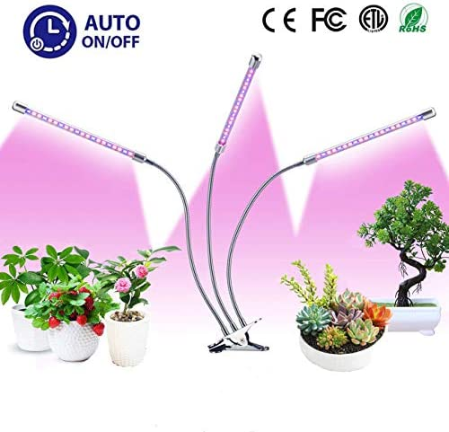 Grow Light for Indoor Plant, 30W LED Plant Grow Lamp with 60 LED Red Blue Full Spectrum Bulbs, Auto ON Off Plant Light with 3 6 12H Timer 6 Dimmable, 3-Head Adjustable Gooseneck with Desk Clip On