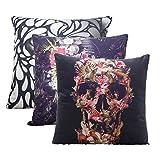 "Monkeysell 3PCS ,super soft white flannel fabrics Square Decorative Fashion Throw Pillow Case Cushion Cover-Black White Skull 18 ""X18 """