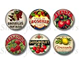 cottage style kitchens Vintage Style French Fruit Liqueur Label Magnets - Six Magnets - 1.5 Inch Round - Colorful French Kitchen Decor