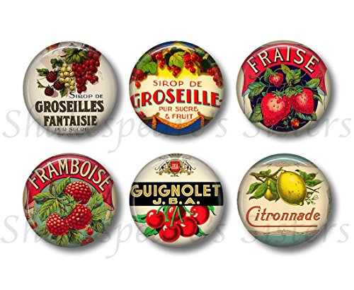 Vintage Style French Fruit Liqueur Label Magnets - Six Magnets - 1.5 Inch Round - Colorful French Kitchen Decor