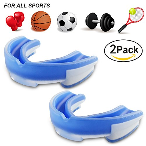 Coolnice Sports Mouth Guard for Adult (AGE 11+), Pro-Quality Stylish Protect your Teeth and Gums. Easy Custom-Fit with Extra Grip, for Boxing, MMA,Football, Hockey, Multi-Sport - 2 Pack by Coolnice
