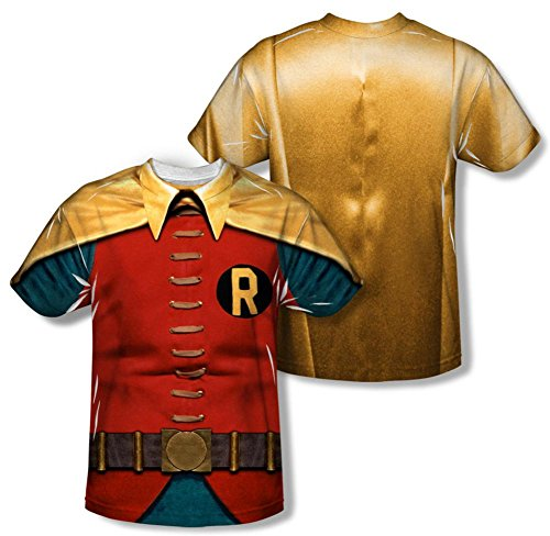 [Batman Classic TV - Robin Costume (Front/Back Print) T-Shirt Size XXL] (Classic Batman Costumes)