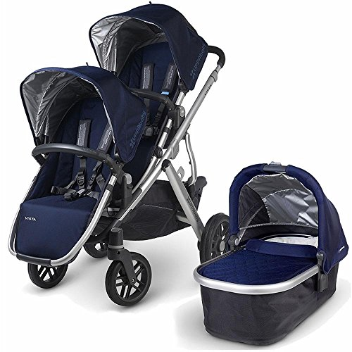 UPPAbaby 0112-TAY Taylor VISTA Double Stroller Kit with Bassinet - Indigo by UPPAbaby