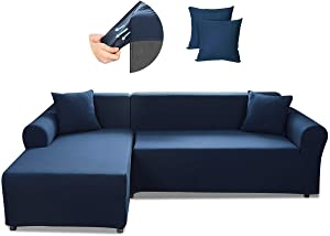 SAFETYON Sofa Slipcover, Sectional Couch Covers 2-Piece, Reversible Sofa Cover Furniture Protector Stretch Couch Slip Cover with Elastic Bottom (Dark Blue)