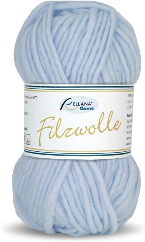 14 tolle Farben 11 hellblau Rellana Filzwolle uni,100/%Schurwolle zum filzen in der Waschmaschine