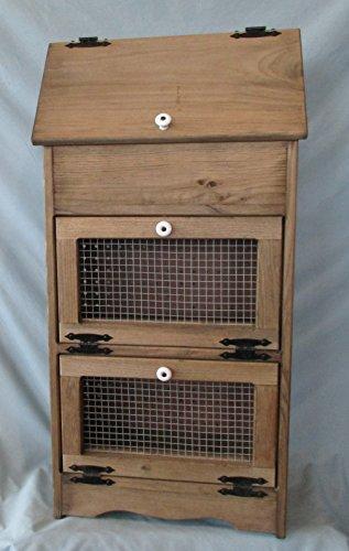 Bread Veggie Bin with Wire Doors (Rustic Walnut Stain) (Bin Veggie)