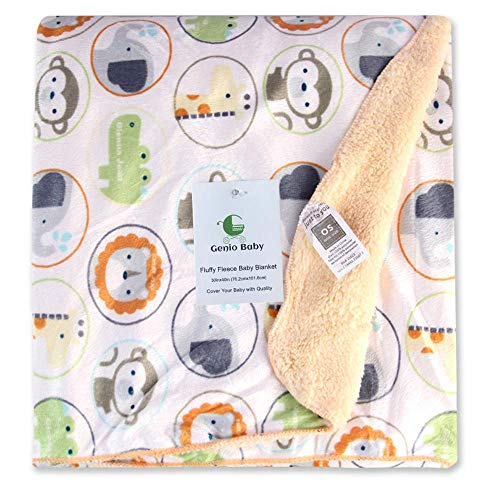 Genio Baby Sherpa Fleece Baby Blanket Unisex 30 x 40 Soft- Perfect for Swaddling and Strolling- Fluffy for Boys and Girls (Light Brown)