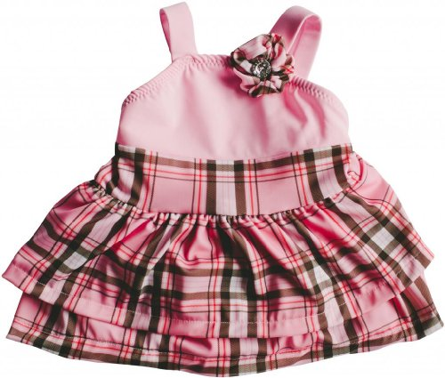 Bella Bare Wear Baby Girl's Plaid Jewel of the Beach Snap-Change Swimsuit-6/12m-Pink, White, Brown