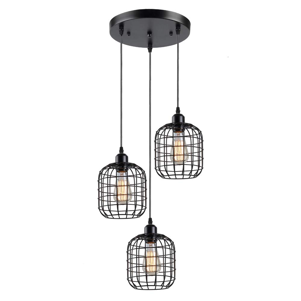 KOONTING Rustic Black Metal Cage Shade Dining Room Pendant Light with 3 E26 Bulb Sockets 120W Painted Finish