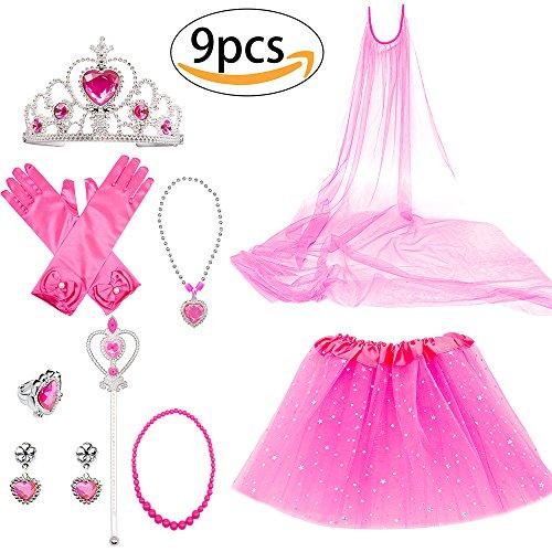 Up Princess Set Pink Dress (Princess Dress Up Costume Accessories Aurora Set For Princess cosplay Gloves Tiara Wand and Necklace (9 Pieces))