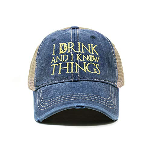 Game of Throne | I Drink and I Know Things | Dad Hat Cotton Baseball Cap Polo Style Low Profile ... (Distressed TC102 Navy) -