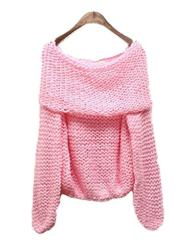 Toping Fine Comfortable Women's Oversize Thicken Off-Shoulder Neck Loose Pullover Knitted Sweater Pink ()