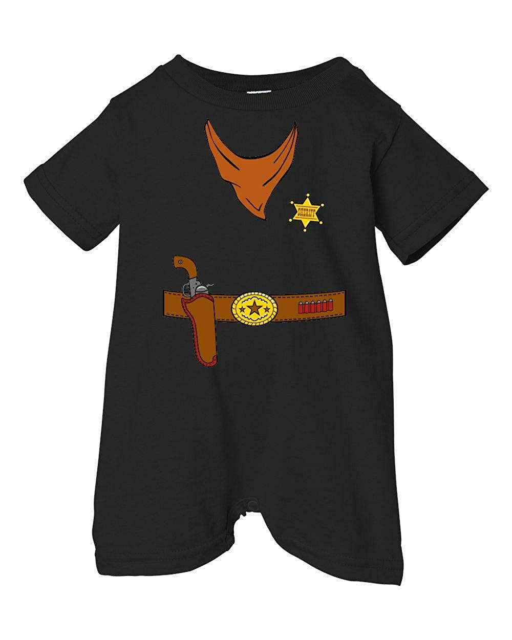 Festive Threads Unisex Baby Sheriffs Holster T-Shirt Romper Black, 12 Months