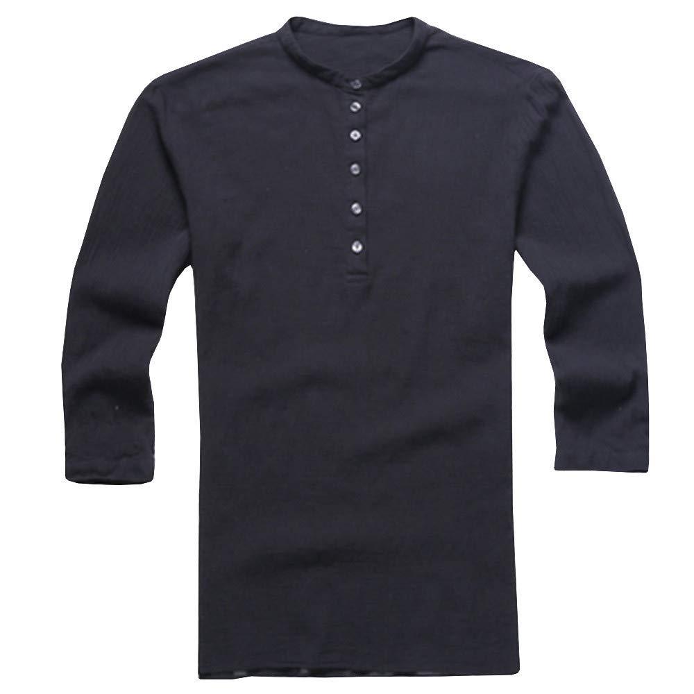 Bsjmlxg Mens Baggy Cotton Linen Button Retro V Neck T Shirts Autumn Summer
